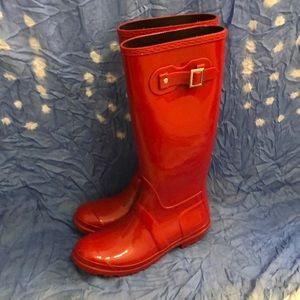 Shoes - NWOT Tall red rain boots sz 9